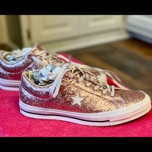 Converse One Star Pink Glitter Shoes